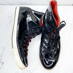Converse Black Patent Leather High Top Sneakers 11